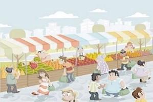 Picture Description of marketplace in Sanskrit
