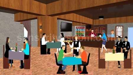 Short picture description of Restaurant in Sanskrit